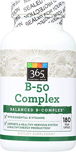 365 Everyday Value, B - 50 Complex, 180 ct (Best B 50 Complex Vitamin)