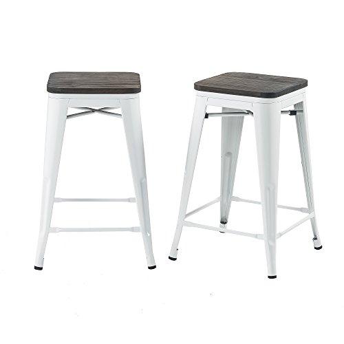 Buschman Set of 2 White Wooden Seat 24 Inch Counter Height Metal Bar Stools, Indoor/Outdoor, Stackable