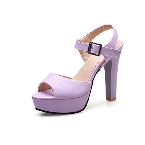Peep Tacones QIN Sandalias de amp;X Bloque Toe Purple Mujer qwqnAvfxCp