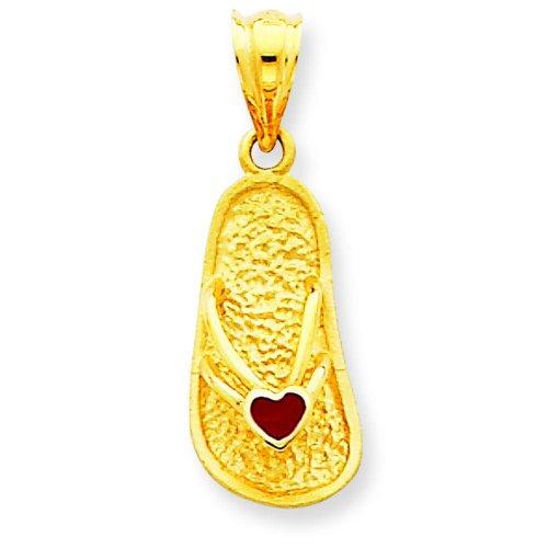 14K Yellow Gold 3-D Red Enameled Sandal Pendant Charm ()