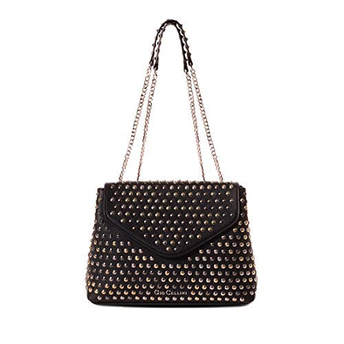 Nero Ecopelle Donna Catene Gio All Cellini Bs012 Con Martellata Borchie Studs Borsa 6AxPU1