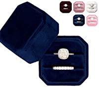 Velvet Ring Box – Elegant Vintage Octagon Display Holder for Jewelry – Double Storage, Soft Fabric – Perfect for Weddings, Engagement, Photography – Decorative & Functional Gifts for Brides (Navy)