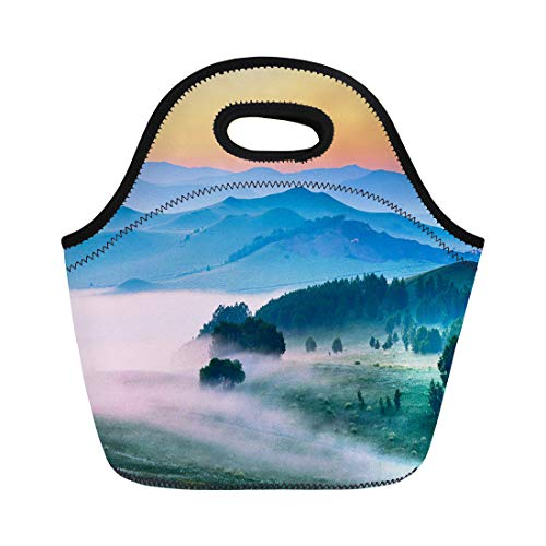 (Semtomn Lunch Tote Bag Sunset the Landscape of Meadow Steppe Wulanbutong Grassland Summer Reusable Neoprene Insulated Thermal Outdoor Picnic Lunchbox for Men Women)