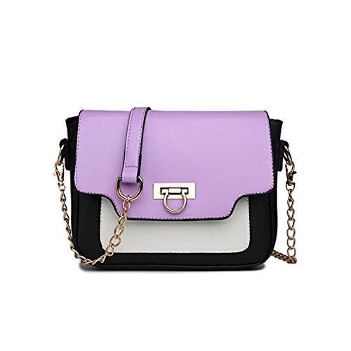 Miss Lulu Women's Leather Style Horseshoe Clasp Cross Body Satchel Handbag Medium Purple