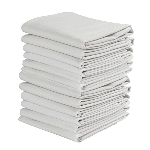 KAF Home Set of 12 White WRINKLED Flour Sack Kitchen / Chef Towels, 100-Percent Cotton, Absorbent, Extra Soft (20 x (Linen Towel Fabric)