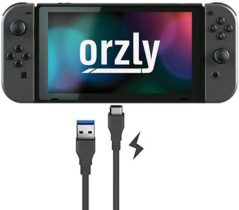Cable tipo C de Orzly para la Nintendo Switch - NEGRO 1M - Cable tipo C para recargar la tableta y los mandos de la Nintendo Switch - Desde Tipo C a