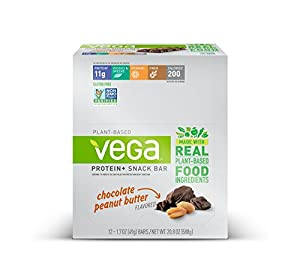 Vega Protein+ Snack Bars Gluten Free, Chocolate Peanut Butter, 1.7oz, 12 Count