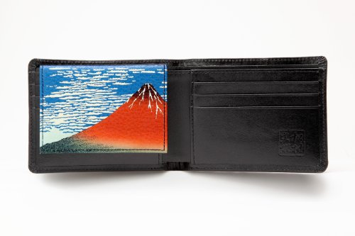 Black Men's style Production Matsumura Clear Wind Clear none Seal fine Black Fine None Morning Seal Case Wallet fold Cowhide with Two Wind Wind Id Fumio fine Bi Morning Morning a Japanese Clear Painting rrExv5wTHn