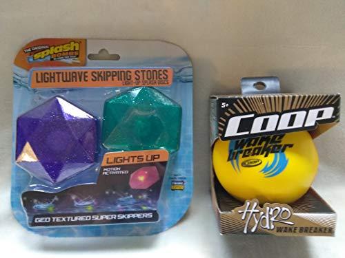 The Original Splash Bombs Lightwave Skipping Stones Light-Up Splash Discs (Lights Up Motion Activated, Geo Textured Super Skippers, Floats, Waterproof) & Coop Hydro Wake Breaker Ball (Yellow/Orange)