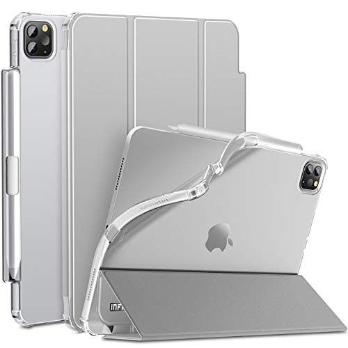INFILAND iPad Pro 11 2020 Case with Pencil Holder, Tri-Fold Case with Frosted Translucent Back Fit iPad Pro 11 2020/ iPad Pro 11 2018 [Support Auto Wake/Sleep] Grey