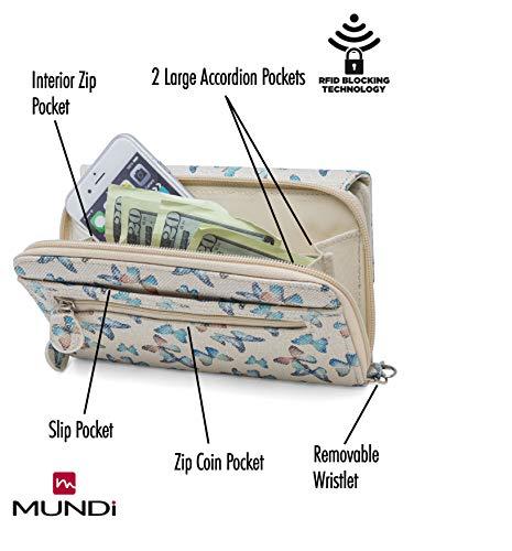 MUNDI Big Fat Womens RFID Blocking Wallet Clutch Organizer Removable Wristlet (Flutter) by Mundi (Image #2)