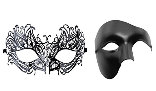 Couple's Venetian Masquerade Mask Set Luxury Style Princess Party Mask (Sexy Couples Halloween Costumes)