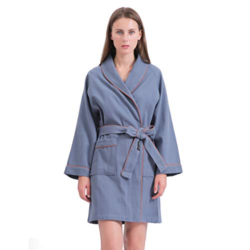 SANLI Short Waffle Robes for Women, Lightweight Cotton SPA Bathrobe, Above The Knee Length and Soft Bath Robe, S Blue