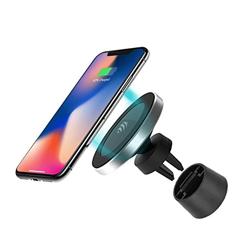 (Magnetic Wireless Car Charger - for Apple iPhone X/8/8 Plus, Samsung Galaxy Note 8/S8/S8+/S7/S6 edge+/Note 5 and All QI-Enabled Devices UPGRADED 10W …)