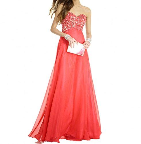 Royaldress Hochwertig Wassermelon Spitze Chiffon Abendkleider Ballkleider Abschlussballkleider Lang A-linie Neu