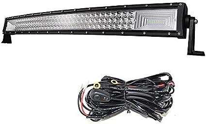 SKYWORLD 32 pulgadas 405W Barra de luz de trabajo de triple fila curva 7D LED, haz combinado de punto de inundación DC 12V 24V 6000K para vehículos