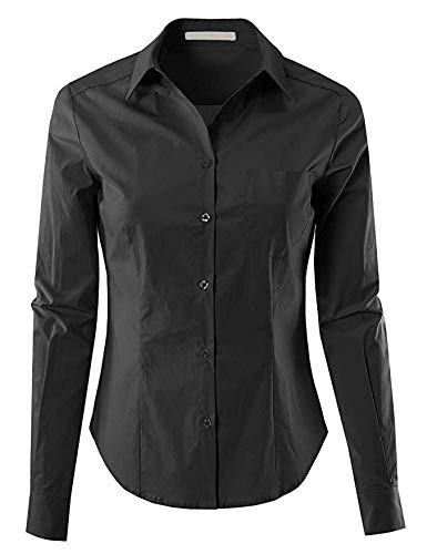 - MAYSIX APPAREL Long Sleeve Stretchy Button Down Collar Office Formal Casual Shirt Blouse W/Chest Pocket for Women Fit (S-3X) Black