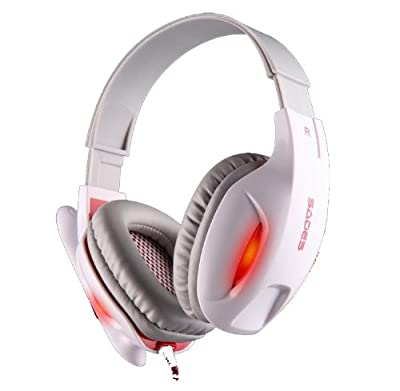 Andget® Sades SA-804 3.5mm Stereo Headphone Gaming Headset with Microphone 40mm Driver White