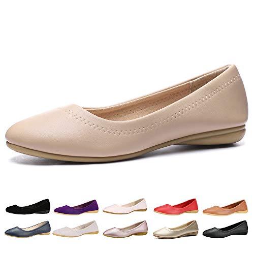 CINAK Women Flats Shoes - Slip-on Ballet Comfort Walking Shoes for Women (7-7.5 B(M) US/ CN39 / 9.5'', -