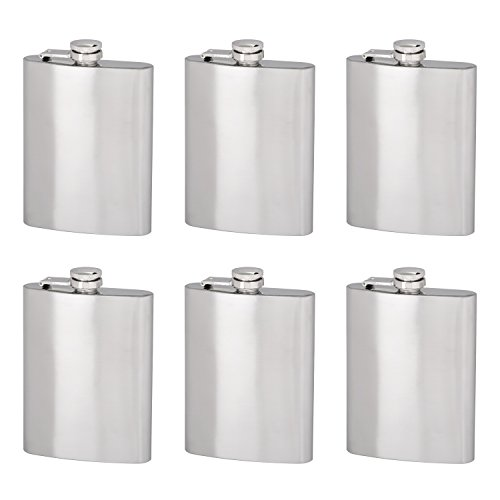 Thirsty Rhino Minum Stainless Steel Hip Flask, 8 oz, Brushed Stainless Steel (Set of 6)