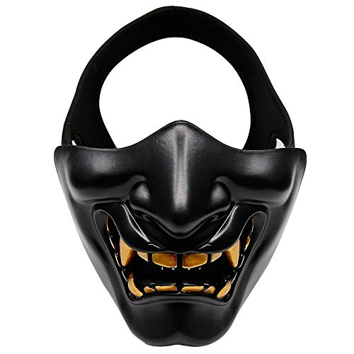 Candora. Evil Demon Monster Skull Terror Half Face Mask Mouth Airsoft Paintball Wargames Protection Party Dress up (Black) -