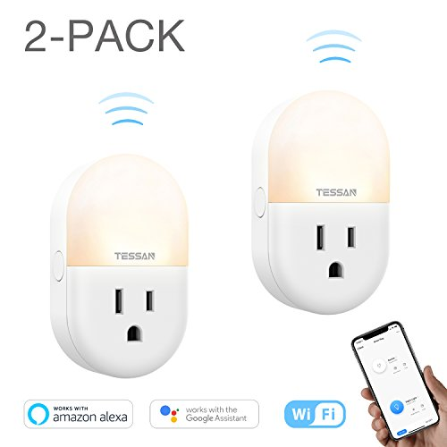 Plug in Smart Night Light with WiFi Outlet, Adjustable Warm LED Nursery Nightlight for Kids, Compatible with Alexa, Google Home - 2 Pack by TESSAN
