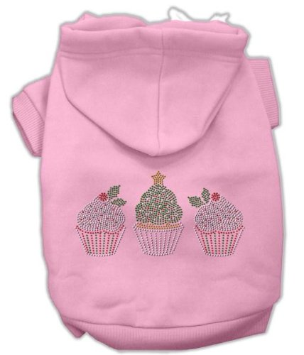 Mirage Pet Products 14-Inch Christmas Cupcakes Rhinestone Hoodie, Large, Pink