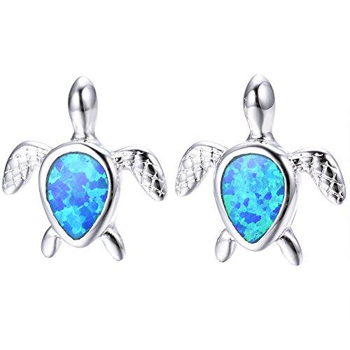 Adeser Jewelry Girls Lab Opal Turtle 925 Silver Studs Promise Wedding Best Friend Party Stud Earrings for Her (Blue)
