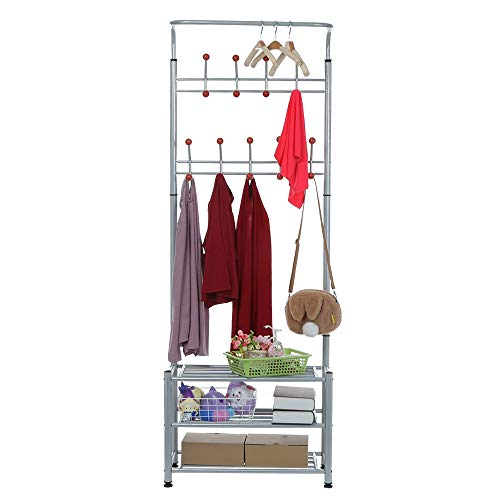 lUKSY US-Direct 3-Tier Coat Rack Shoe Bench, 3 in 1 Metal Entryway Coat Shoe Rack Shoe Bench with Coat Hat Umbrella Rack,Combination Coat Rack 18 Hooks,27.6 x 12.6 x 74.8 inches