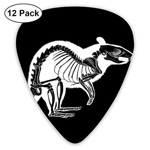 Halloween Rat Skeleton Black and White Bendy Ultra Thin 0.46 Med 0.73 Thick 0.96mm 4 Pieces Each Base Prime Plastic Jazz Mandolin Bass Ukelele Guitar Pick Plectrum Display