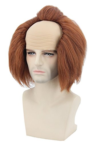 Topcosplay Men or Women Halloween Costume Wigs Brown Bald Head Cosplay Wig -