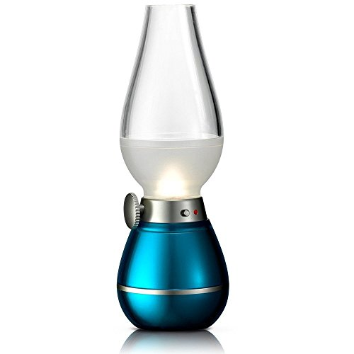 BearsFire USB Rechargable LED Blowing Control Kerosene Candle Lamp Nostalgia Retro Style LED 0.4W Adjustable Portable Night Light Desk Lamps Dimming Knob for Home Camping barbecue journey (Blue) by BearsFire