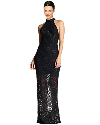 ABS by Allen Schwartz Floral Lace Halter Evening Gown Dress