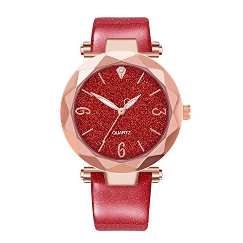 (WoCoo Ladies Watches Leather Band Round Dial Analog Clock Classic Quartz Female Charm Bracelet Dress Wristwatches(Red))