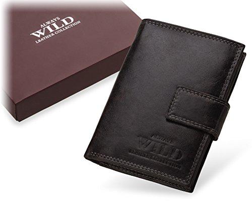 Herren – Leder - Brieftasche ALWAYS WILD mit Schnalle schwarz durchgescheuert