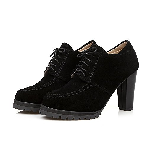 VogueZone009 Women's High Heels Solid Lace up Round Closed Toe Pumps-Shoes Black gbdKHyJrp