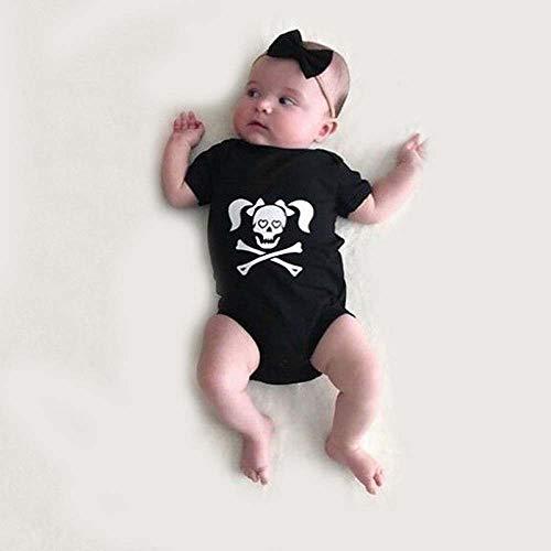 MOKO-PP Toddler Infants Baby Boys Girls Skull Print Romper Halloween Costume Outfits(black,100) -