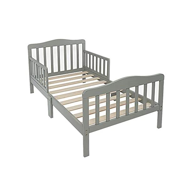 Alooter Toddler Bed Frame Guardrail Classic Design, Bed for Kids Sturdy Wooden Frame for Extra Safety with Headboard and Footboard 1