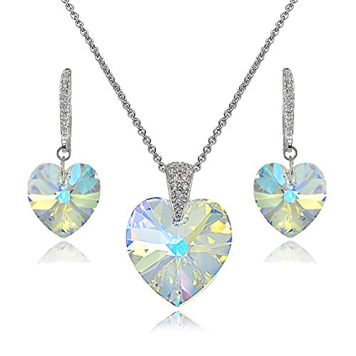 Sterling Silver Aurora Borealis Heart Necklace and Dangle Earrings Set Created with Swarovski Crystal
