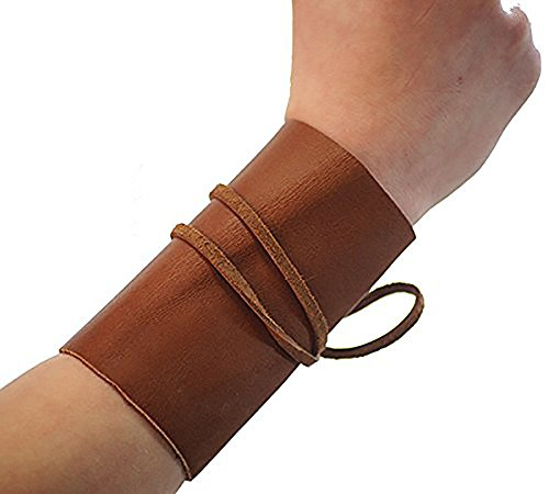 [Medieval-Larp-SCA-Pagan-Reenactment-Cosplay-Barbarian LARP Budget Real Leather Wrist Bands] (Larp Costumes Uk)