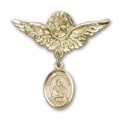 ReligiousObsession's 14K Gold Baby Badge with St. Christian Demosthenes Charm and Angel with Wings Badge Pin by Religious Obsession