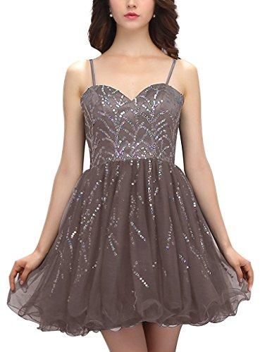 JYDress - Vestido - trapecio - Sin mangas - para mujer gris
