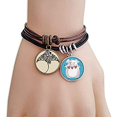 Skate Black And White Pattern Animal Bracelet Rope Wristband Pig Heart Love Set Estimated Price -