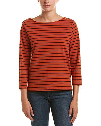French Connection Women's Tim Stripe Top, Copper Coin/Utility Blue S (Stripe Shirt Orange)