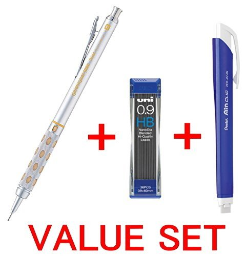 Pentel Graph Gear 1000 Automatic Drafting Pencil, 0.9mm Lead Size, Brushed Metal Barrel/PG 1019/ + Pentel Ain Clic Retractable Pen-type Triangle Eraser + Strength & Deep & Smooth Uni 0.9mm HB Top quality Diamond Infused Leads [Nano Dia-36 Leads] for Profe