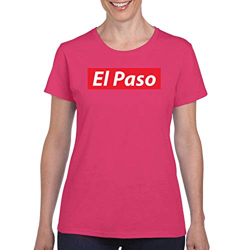 Red Box Logo El Paso City Pride Womens Graphic T-Shirt, Fuschia, Medium -