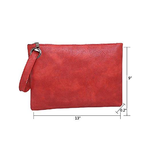 Light Handbag Simple Evening Wristlet Bag Grey for Clutch Zipper Envelope Leather Woman Purse FXTXYMX qZY70