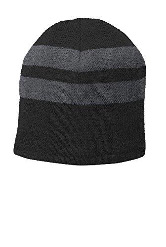 Port & Company Men's Fleece Lined Striped Beanie OSFA Black/Athletic (Port & Company Oxfords)