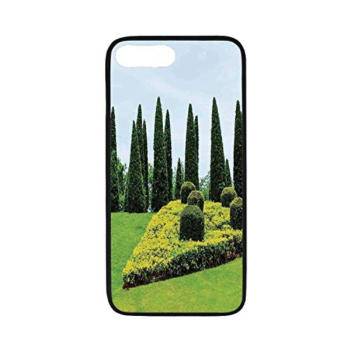 Country Home Decor Rubber Phone Case,Classic Formal Designed Garden with Evergreen Shrubs Boxwood Topiaries Compatible with iPhone 8 Plus
