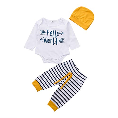 3Pcs Infant Newborn Baby boy Girls Hello World Romper Tops+Pants Clothes Outfit Sets (0-3 Months, Fits for Newborn)